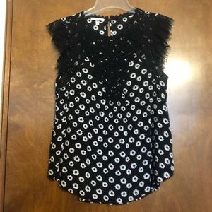 Maurice's Black with White Flowered Top